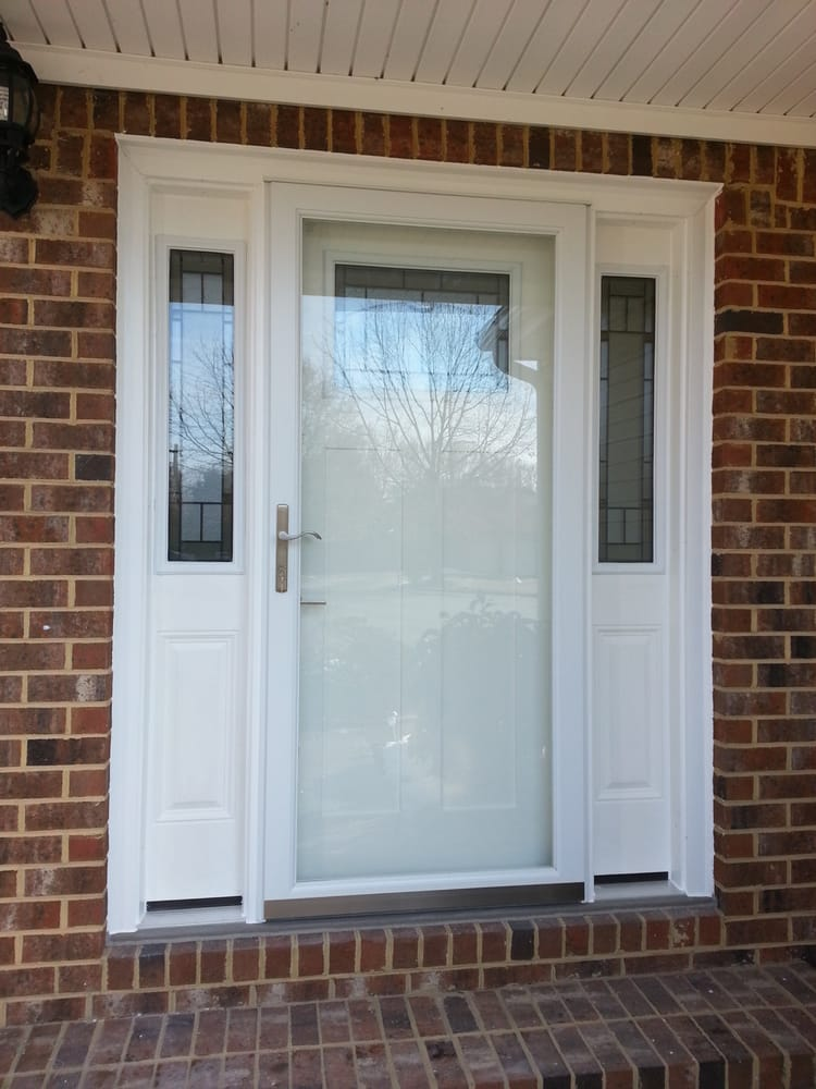 Smooth Fiberglass Craftsman Entry Door With Decorative Glass And