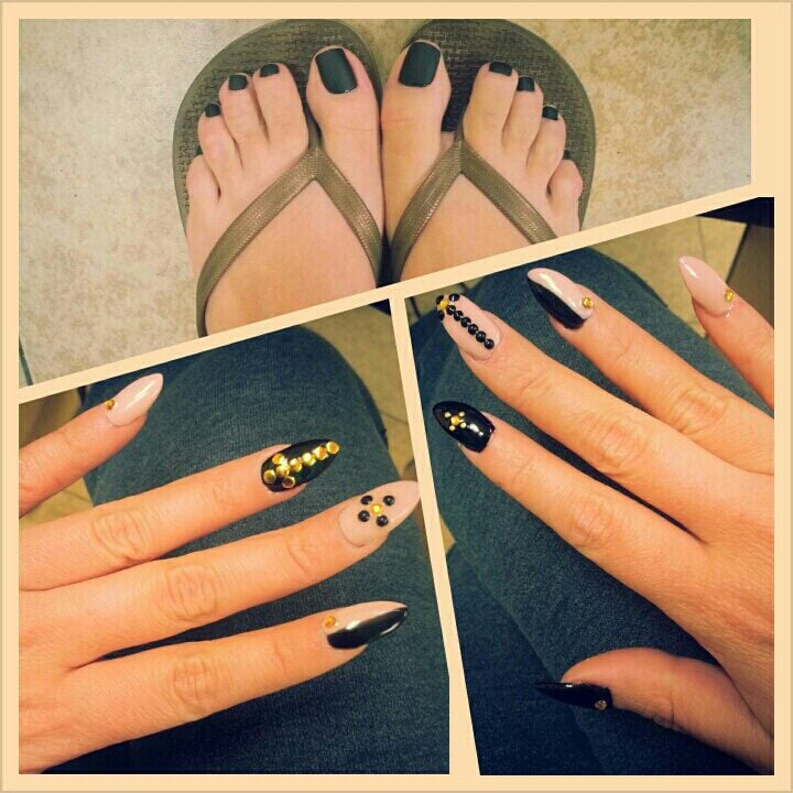 matte black nail polish on pedicure & gel stiletto nails w design - Yelp