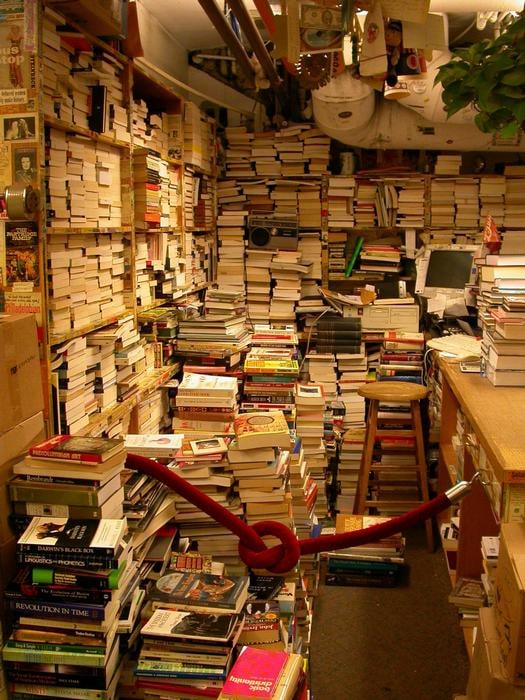 Piles Of Used Books In The Basement, Yet To Be Put Out
