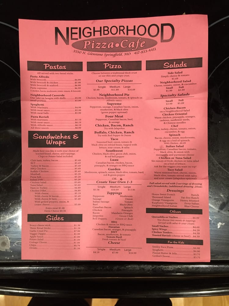 Neighborhood Pizza Cafe Springfield Mo Menu
