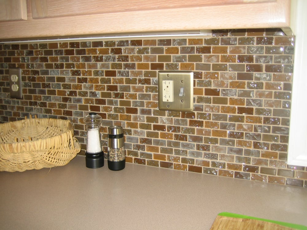 Kitchen Outlet Covers Kitchen Remodel With Glass Tile Back Splash Platinum Outlet