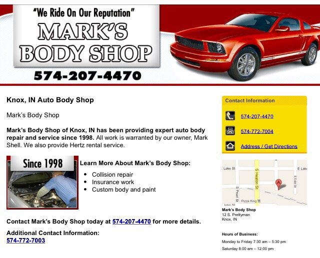 Mark's Body Shop: 12 S Prettyman St, Knox, IN
