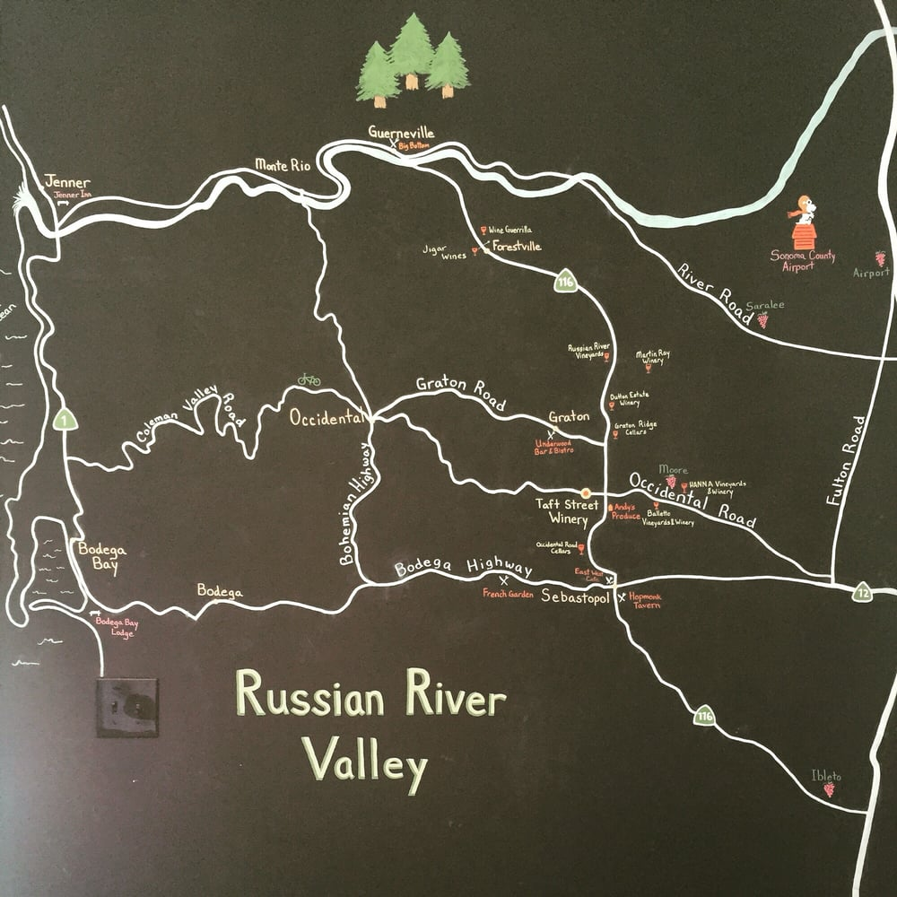 Charming chalkboard map in the tasting room. - Yelp on