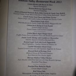 Restaurant X & Bully Boy Bar - Congers, NY, United States. The menu for restaurant week 2013