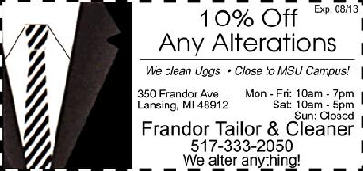 Frandor Tailor & Cleaners: 2522 E Michigan Ave, Lansing, MI