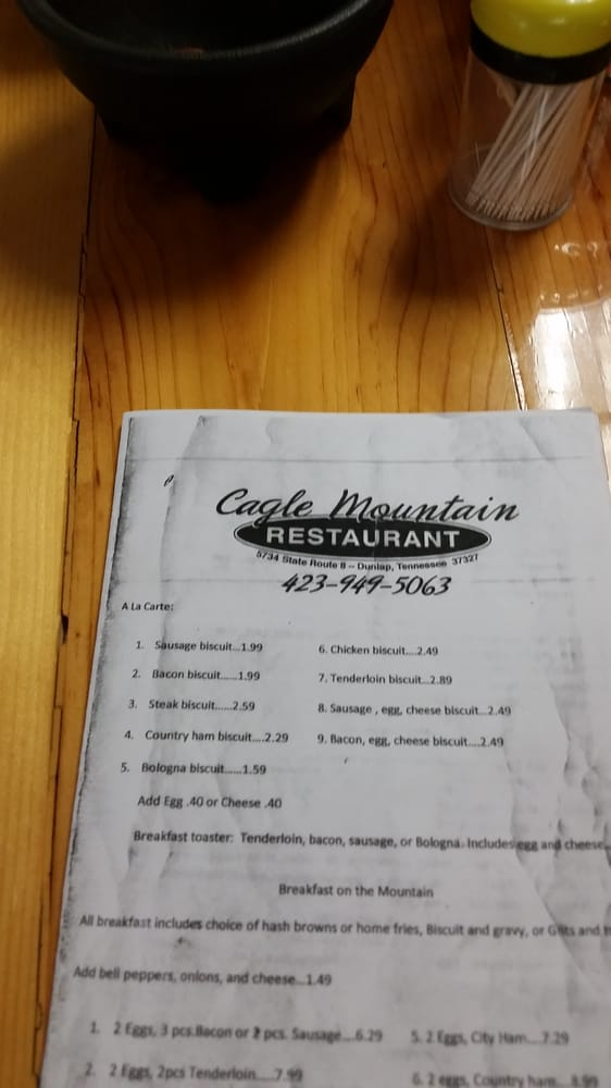 Cagle Mountain Restaurant: 75 Whitlow Rd, Dunlap, TN