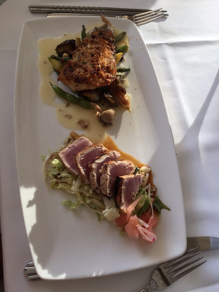 Wok seared and macadamia nut crusted fish dishes on a for Merriman s fish house