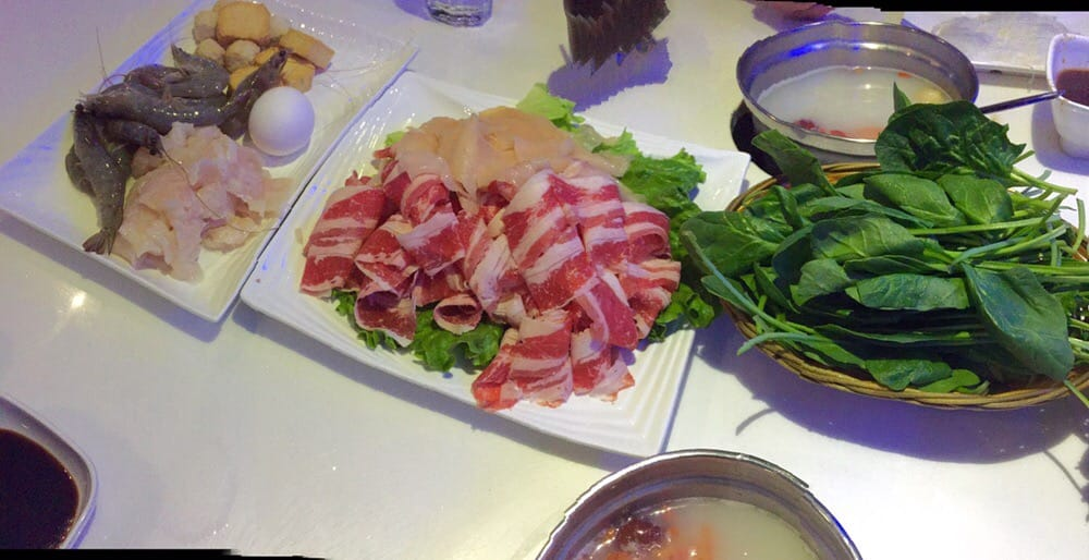 Fatty beef chicken shrimp fish tofu eggs spinach yelp for Fish buffet near me