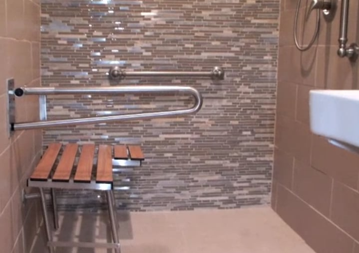 A Barrier Free Roll In Bathroom Project In Los Angeles With Folding Stationary Stainless