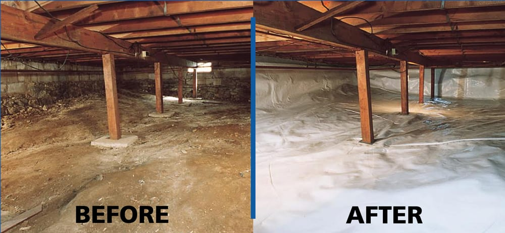 Before after shot of perma seal 39 s crawl space for What does crawl space foundation mean