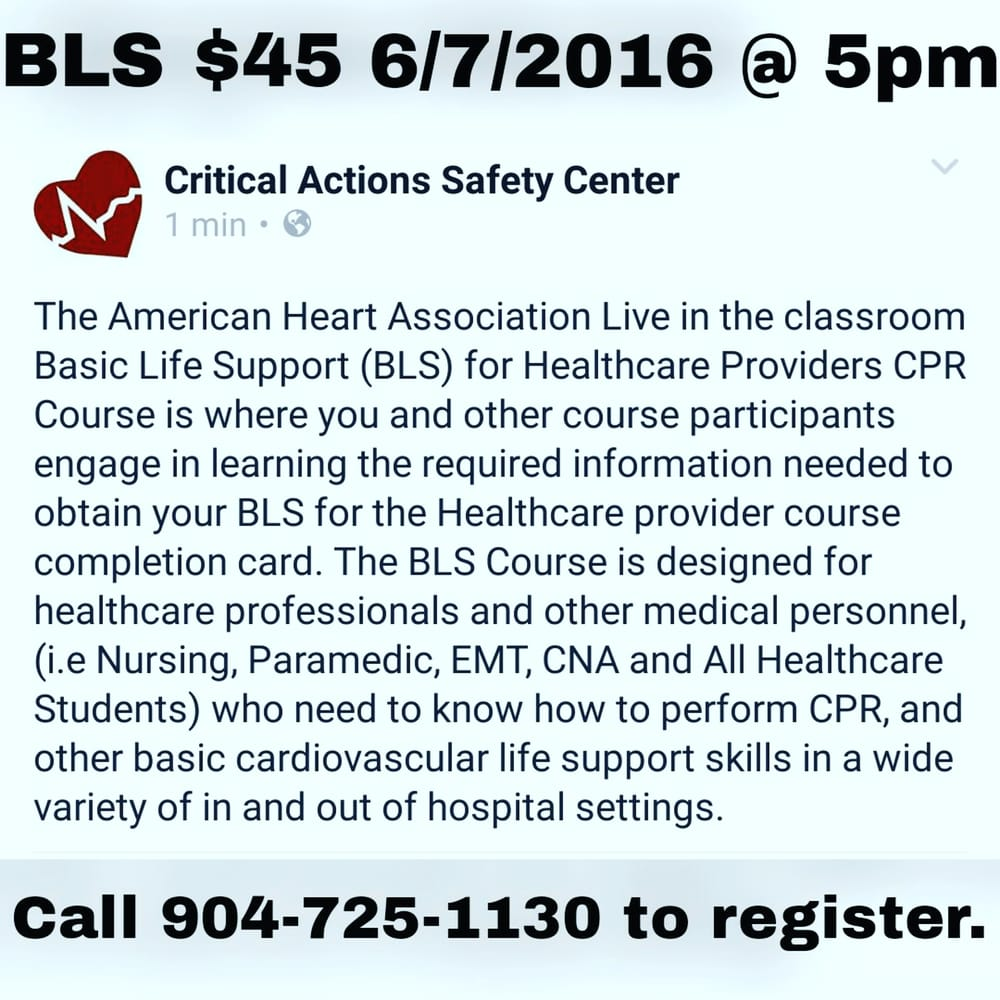 Critical actions safety center cpr classes 4401 salisbury rd critical actions safety center cpr classes 4401 salisbury rd southside jacksonville fl phone number classes yelp xflitez Images