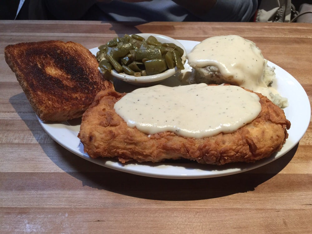 ... Country fried steak, mashed potatoes and green beans with Texas toast
