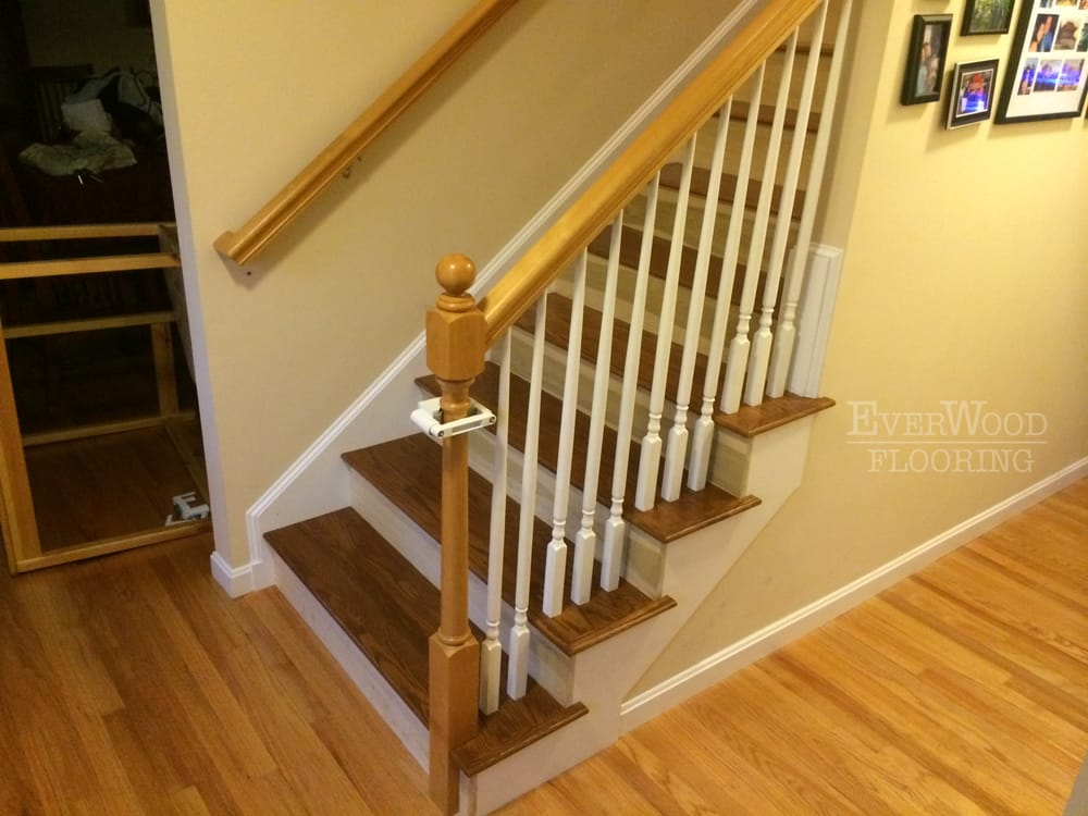 Stair Treads Custom Stained To Match Prefinished Wood Flooring