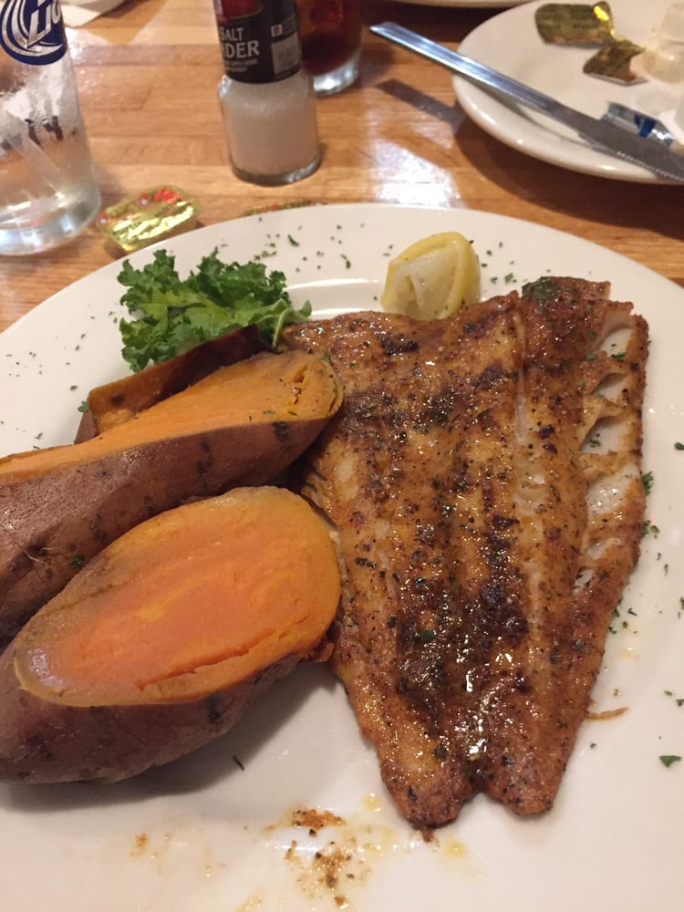 Blackened pollock and baked sweet potato yelp for Flanders fish market