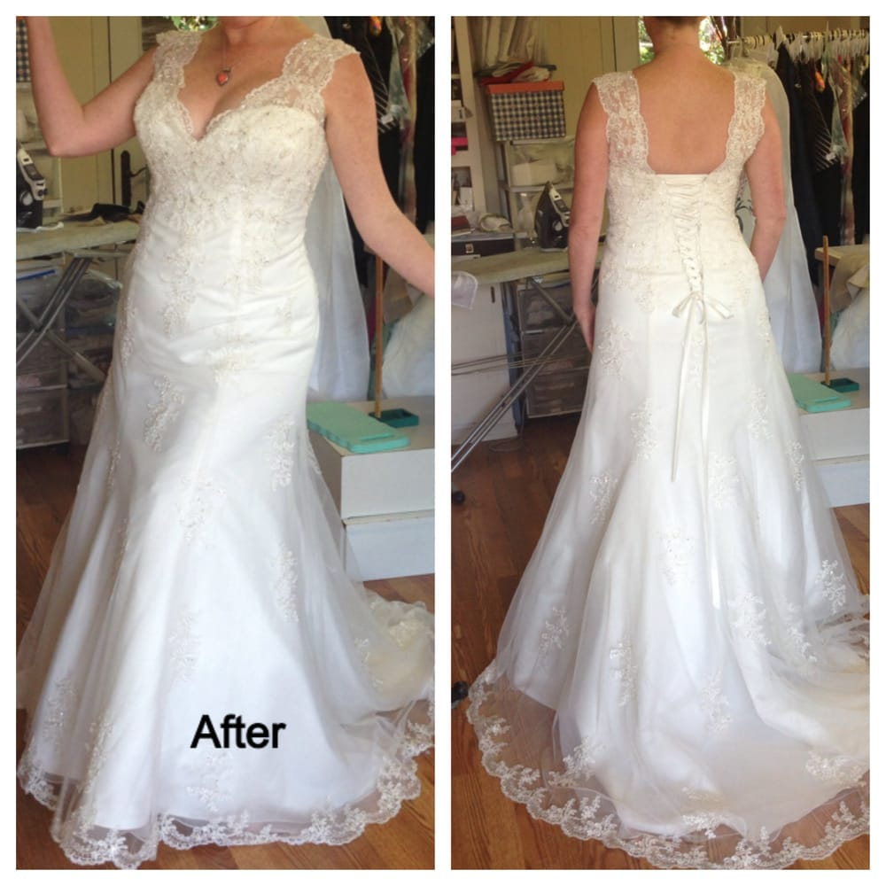 Gown after completed alterations corset spread as for Bride dress after wedding