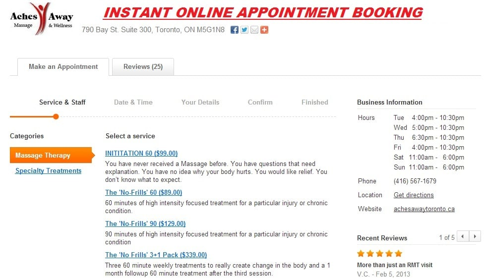 Book a Massage Therapy appointment instantly anytime - Day