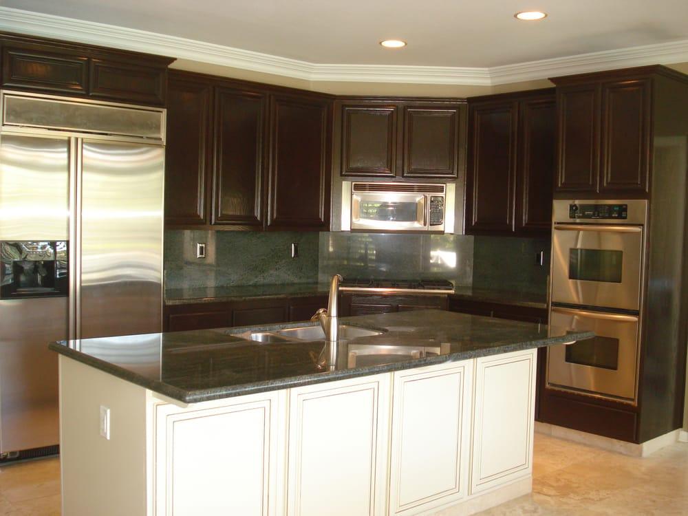 Golden oak kitchen cabinets refinished to a rich dark ...