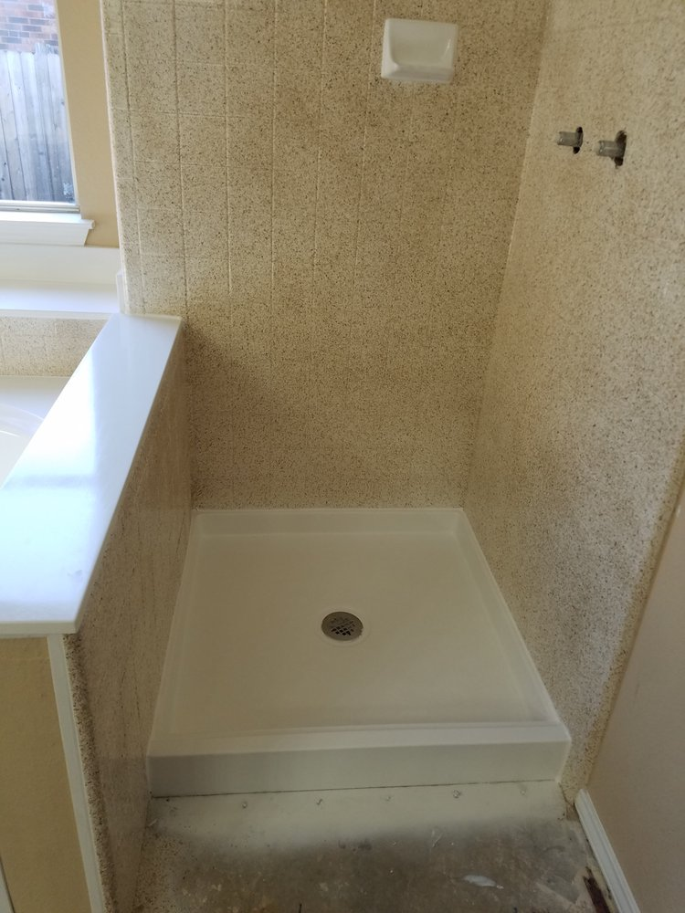 Andrew saved this shower pan that had a crack all the way around the ...