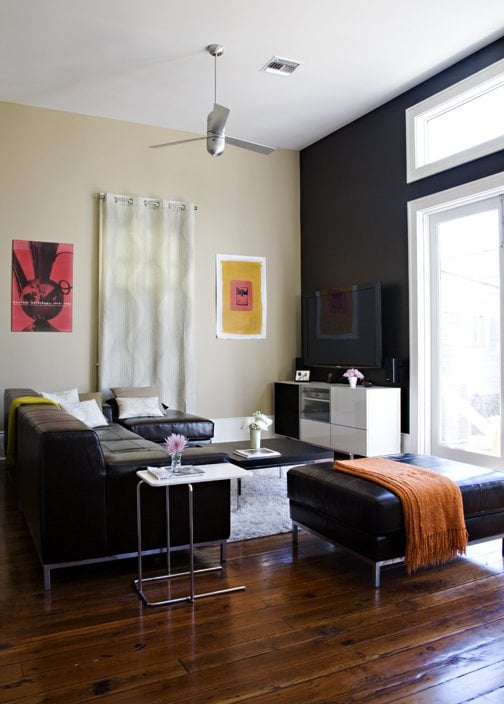 IKEA Living Room: Kramfors Leather Couch, Besta Custom