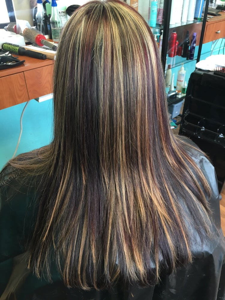 Beautiful Blonde Highlights With Burgundy Lowlights Yelp