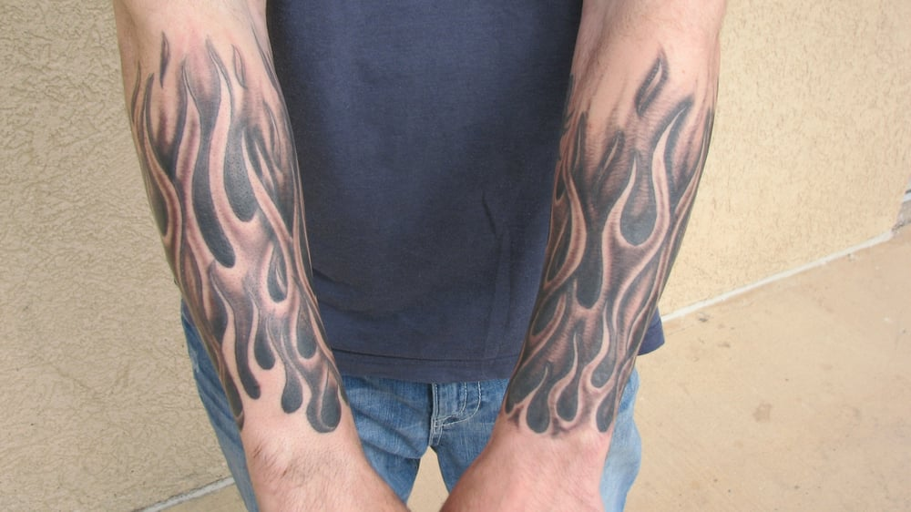 black and grey flame half sleeve tattoo by steve anderson