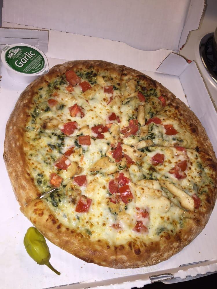 Medium spinach chicken alfredo and roma tomatoes pizza - Papa john s pizza garden fresh pizza ...
