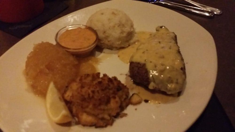 ... sauce, crab cake, spaghetti squash, and garlic whipped potatoes | Yelp