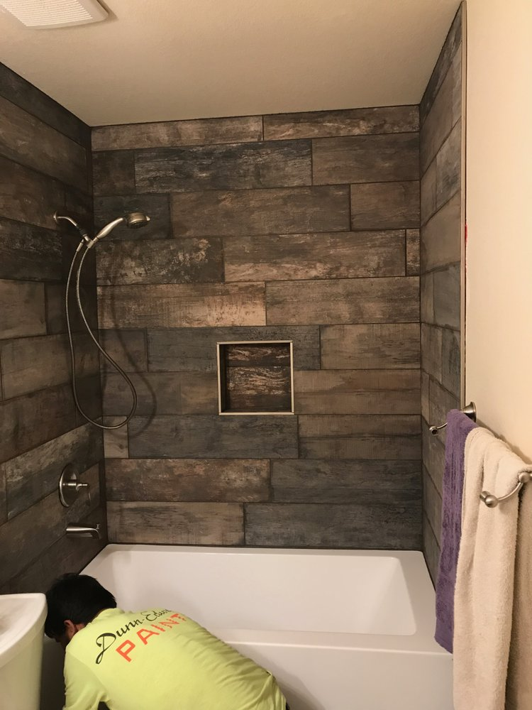 Im loving the wood themed shower tile shower wall! - Yelp