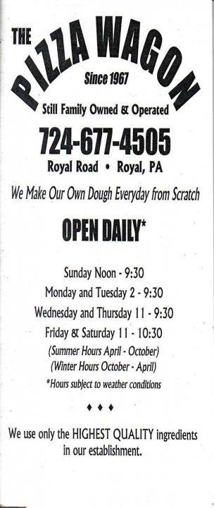 Pizza Wagon: Royal Rd, Smock, PA