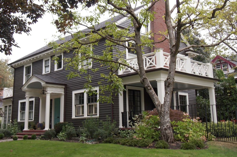 Exterior Painting Of Gray Colonial Style Home In Historic