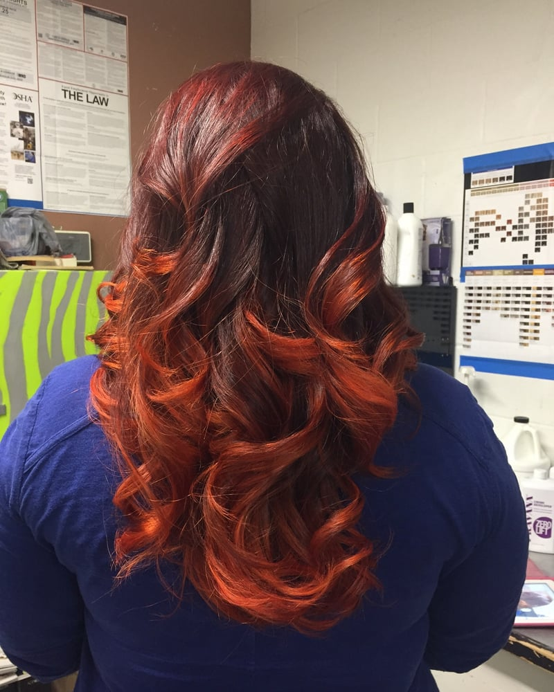 Fire inspired ombr by meghan yelp for Lux hair salon