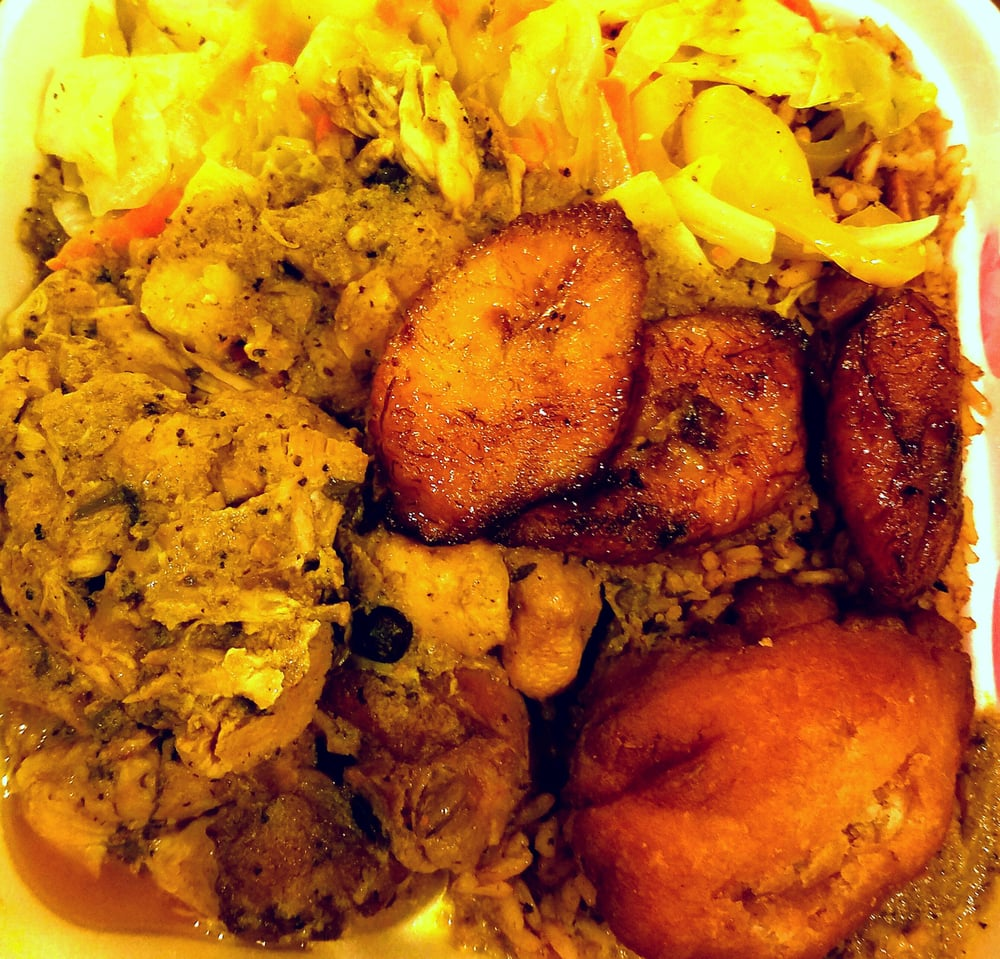 Curry chicken veggies rice and peas plantains and for Ackee bamboo jamaican cuisine