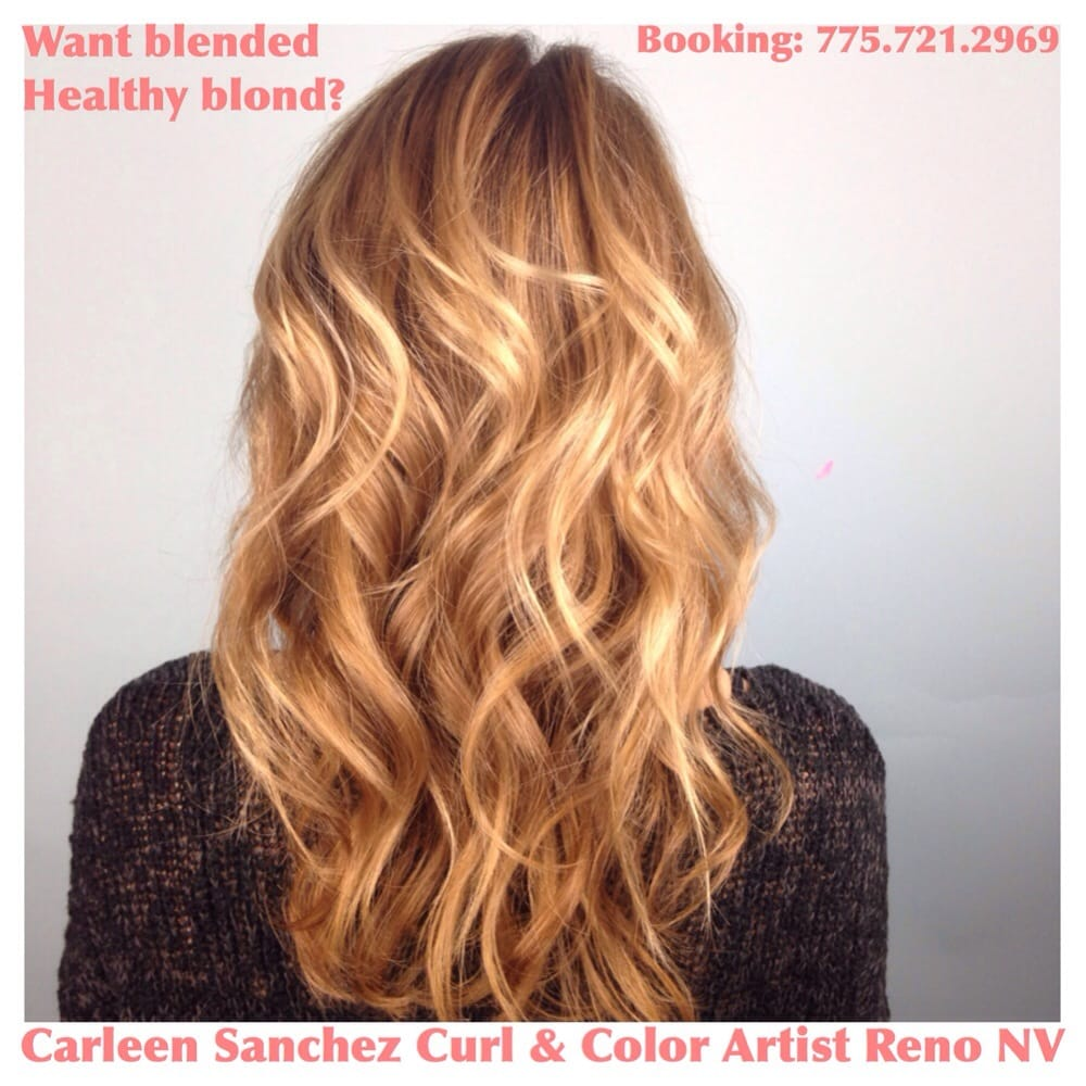 Golden blond haircut and and color Carleen Sanchez Reno Nevada Curly ...