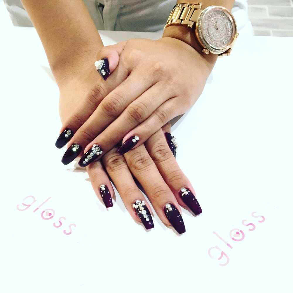 Burgundy gel polish, coffin-shaped nails & some bling! - Yelp