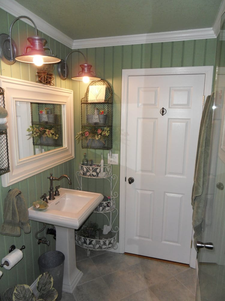 Complete Remodel Of Master Bathroom Use Of T 111 Siding As Wall Material Creates A Unique