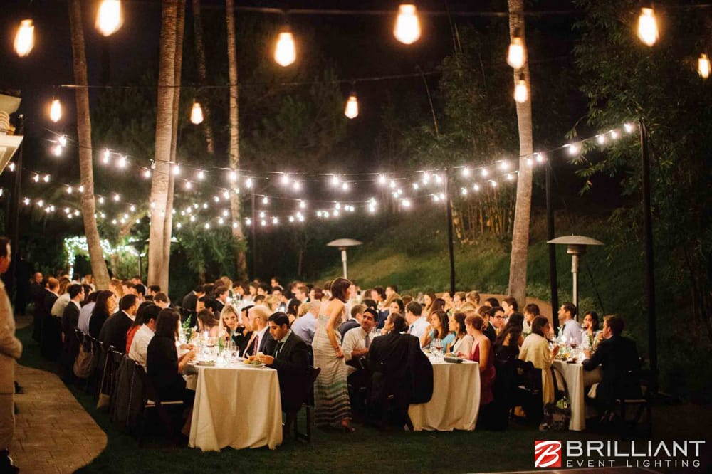 Outdoor Wedding Lighting In Backyard Featuring Market