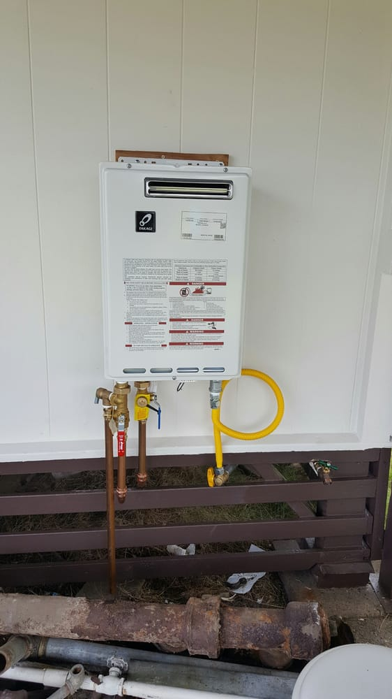 New Gas Outdoor Tankless Water Heater Installation Yelp