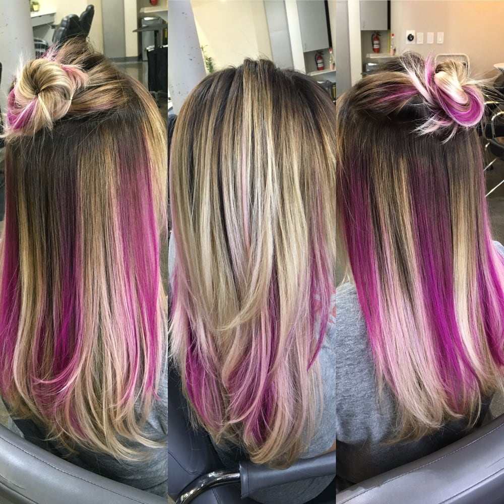 Pink Peekaboo Balayage Haircolor By Cristela Yelp