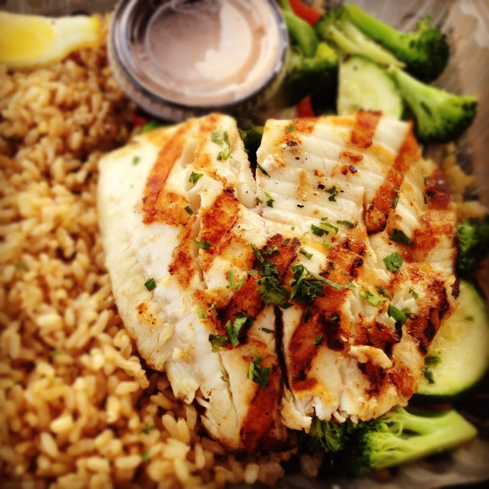 ... , CA, United States. Grilled tilapia with veggies and brown rice