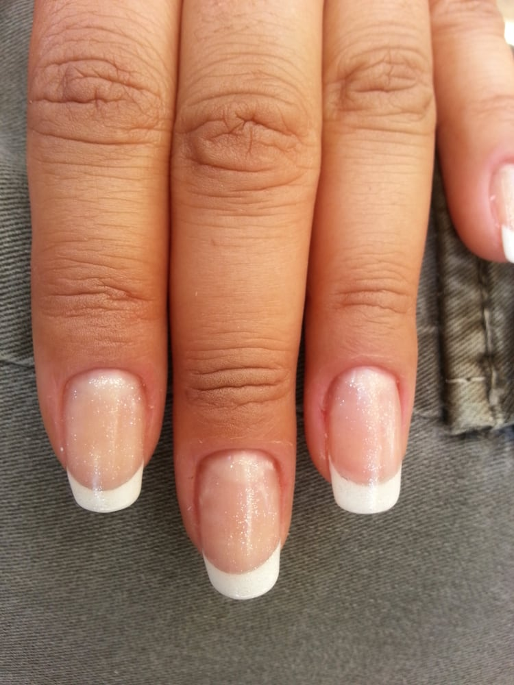 Bio Sculpture Gel French tip with clear glitter - Yelp