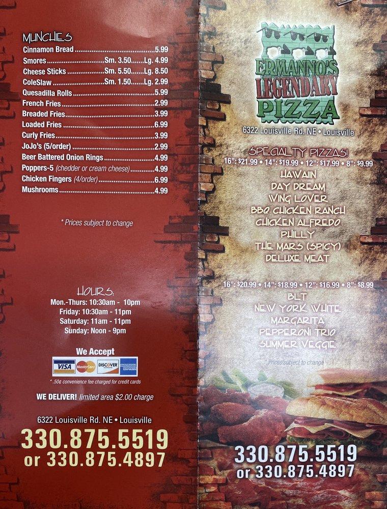 Ermanno's Pizza Shop: 6322 Louisville St, Louisville, OH