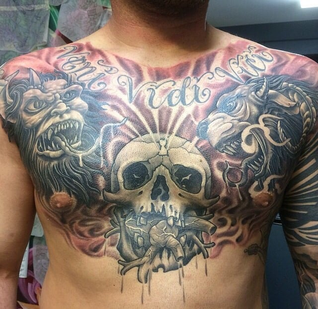 Killer chestpiece by johnny rockit yelp for Best tattoo shops in fresno
