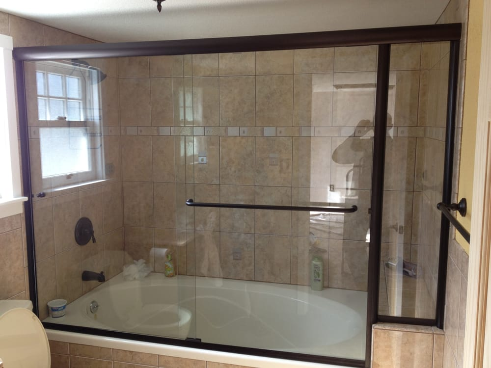 In Line Panel Shower Enclosure On Soaker Tub Bathroom Remodel Yelp