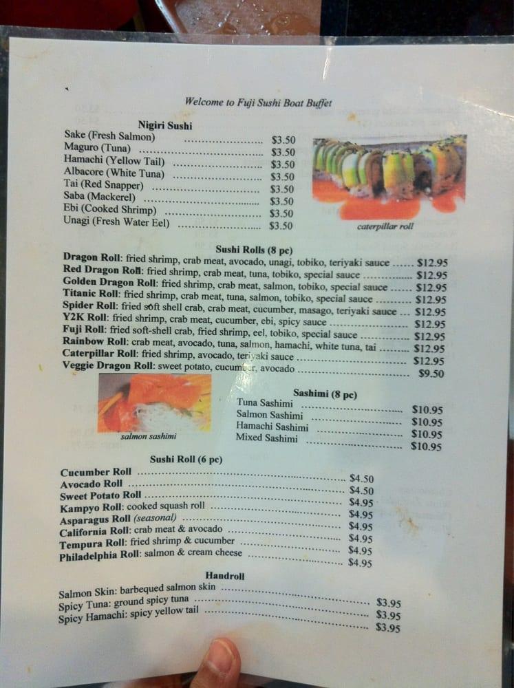 fuji s take out menu since they don t give you one yelp rh yelp com fuji sushi seafood buffet menu destin fuji sushi boat buffet davis menu