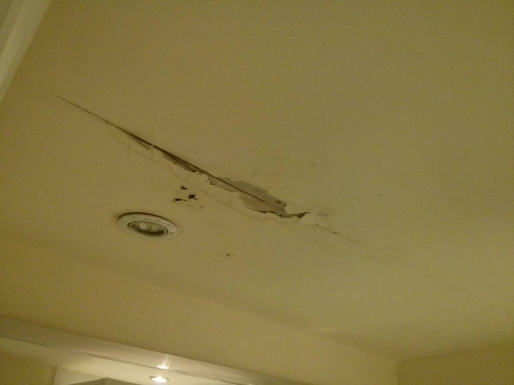 Bathroom Ceiling Falling Apart Lights Nonfunctional - Bathroom ceiling water damage