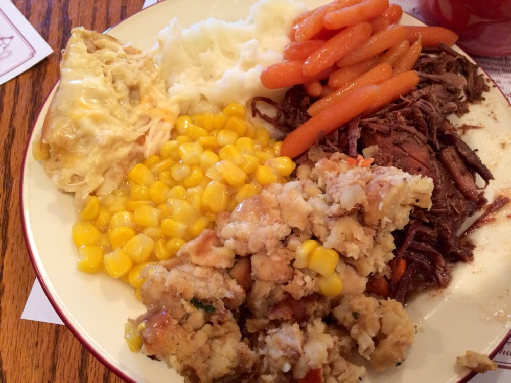 Dinner buffet, pot roast, mashed potatoes, Amish corn, stuffing ...