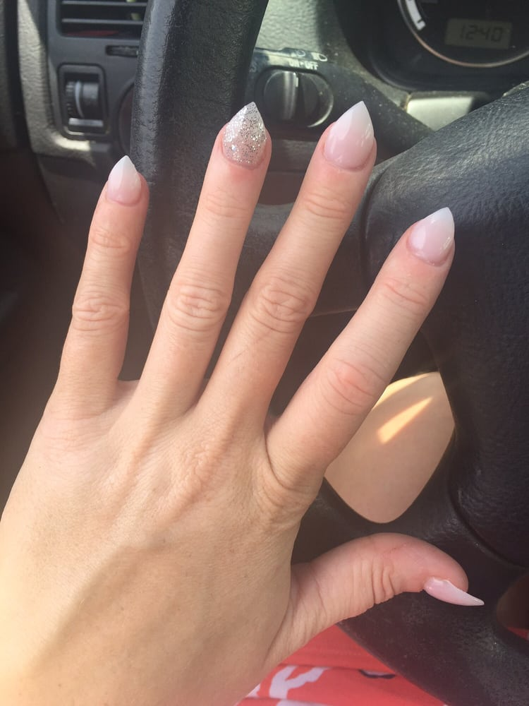 neutral nails with glitter accent. - gel - Yelp