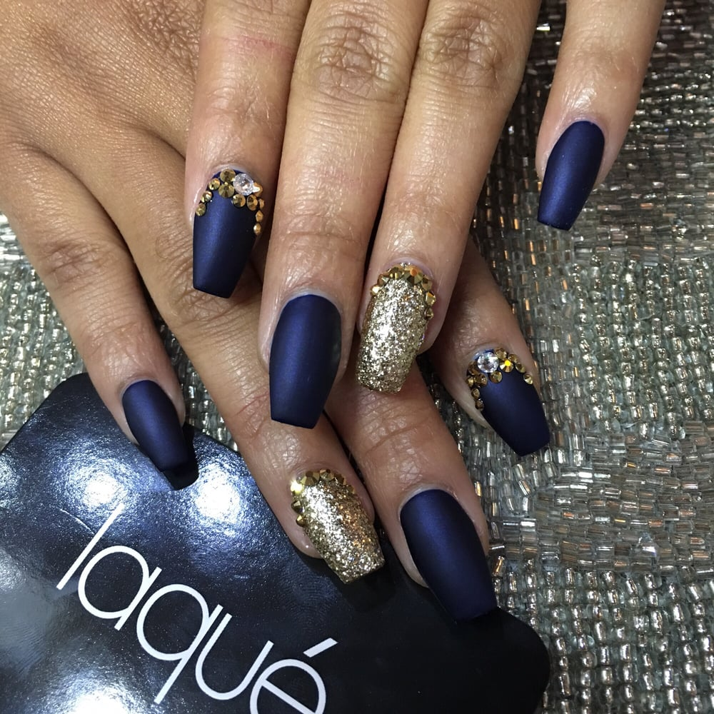 Matte navy blue and gold - Yelp