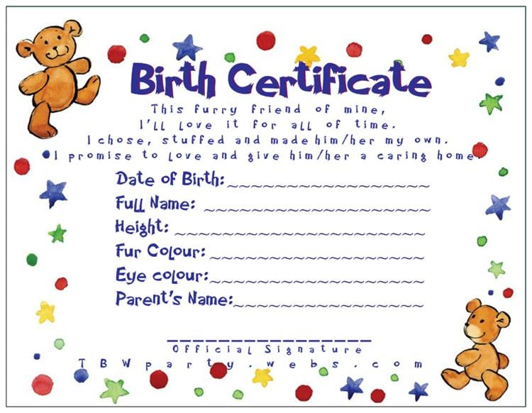 Tbw teddy bear workshop parties get quote party for Build a bear birth certificate template