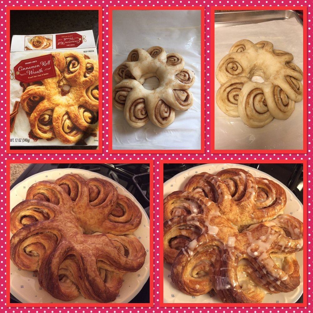 TJ's Cinnamon Roll Wreath - Before proofing, Proofed, Baked